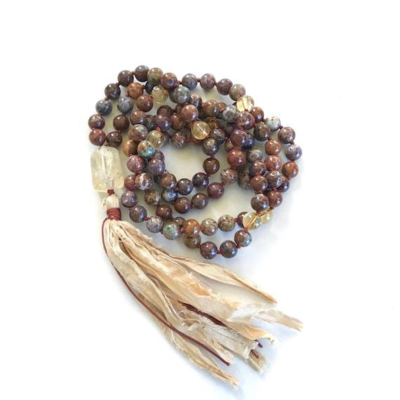 Brown & Green African Opal Mala Necklace, Citrine Mala Bead Necklace, Unique Mala Beads, 108 Bead Mala With Sari Silk Tassel, Japa Mala