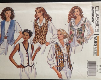 Butterick 6714 Fast and Easy One Yard Vest V Neck with Pointed Weskit Hem - Size 14 16 18