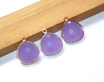 1 Pc 13mm Bezel Set Lavender Chalcedony Faceted Heart Shape Pendant / Single Loop Pendant / Gemstone Charm Pendant / Select Finish / C02