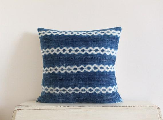 "Vintage indigo shibori African mudcloth pillow / cushion cover 20"" x 20"""