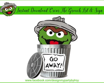 INSTANT DOWNLOAD Oscar The Grouch Trash Can Lid and Sign, Oscar The Grouch, Sesame Street Party, Elmo, Sesame Street Party, Metal Buckets.