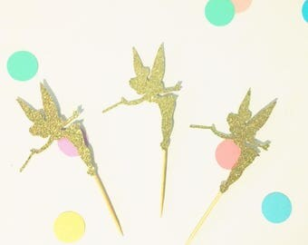 Tinkerbell fairy gold glitter cupcake toppers
