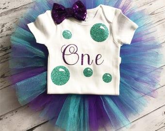 1st Birthday Bubble Guppies Tutu Outfit 1st Birthday Bubble Guppies Shirt Bubble Bodysuit Bubble Guppies Aqua and Purple Tutu Cake Smash