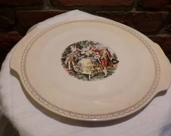 Salem China Co. Cake plate with handles, 1950's Salem China Cake Plate, Salem China Platter, Morethebuckles, Rare Salem China 23 Karat Gold