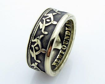 Newfoundland Coin Ring, Brass, Copper, Bronze, Unique Ring, Coin Jewelry, Mens, Band, Mans, Rings, Coin Art, Gift for Her