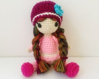 Crochet Doll / Amigurumi Stuffed Girl Doll Toy / Ruby / In Stock