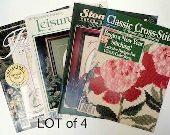 LOT of 4 Needlework Magazines: Cross- Stitch, Embroidery Patterns, Ribbon Arts. Charts, Photos, Instructions, History. 1991-92 Issues BK70