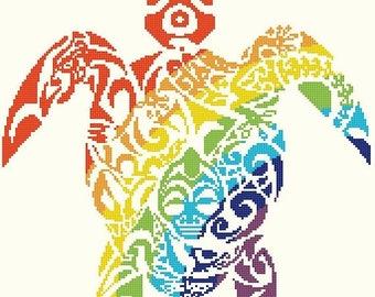 tribal turtle cross stitch pattern - 171 x 183 stitches - point de croix needlepoint, needlecraft - INSTANT Download - B1429