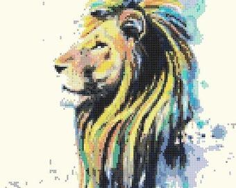lion Cross Stitch Pattern Pdf watercolor pattern watercolor cross stitch - 136 x 189 stitches - INSTANT Download - B1517