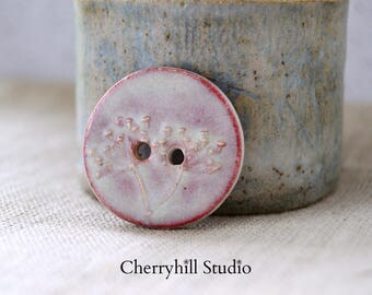 XL Red Dill Button, Large Round Ceramic Button, Ceramic Buttons, Sew on Buttons, Ceramic Embellishments, Haberdashery