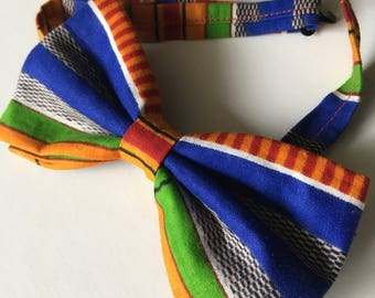 Blue Kente Cloth/African Print Bow Tie with Adjustable Neck Band - (Ties, Bowtie, Formal, Casual, Accessories)
