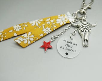 """liberty Keychain star cabochon """"I'm a sister who rocks"""" - Bull Horn customizable - girlfriend gift sister girlfriend coworker"""