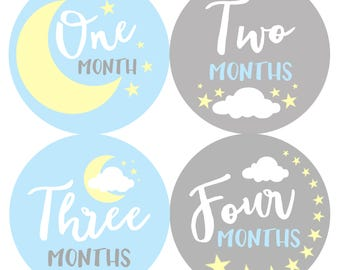 Baby Month Stickers Baby Boy Monthly Milestone Stickers Baby Shower Gift First Year Belly Stickers 12 Months Milestone Moon Stars Baby Blue