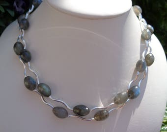 Necklace with Labradorite, 925 Silver, two in one, a dream necklace!