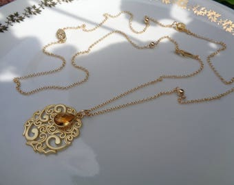 Long gold chain, 585 gold filled with double pendant and filigree citrine