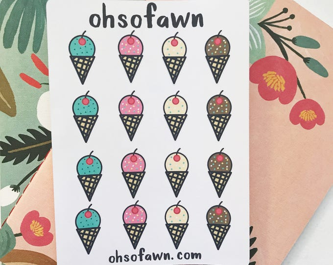 Hand Drawn Ice Cream Stickers