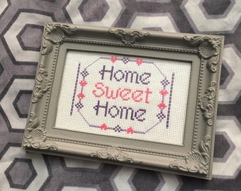 Home Sweet Home Finished Framed Cross Stitch