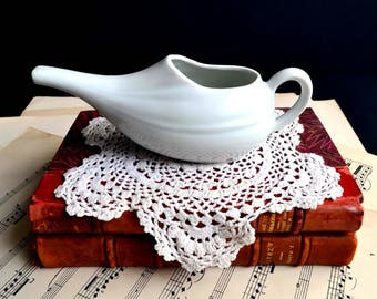 Vintage French White Porcelain Long Spout Invalid Feeding Cup Jug Ceramic Pap Feeder
