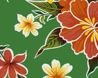 Hibiscus oilcloth by the yard