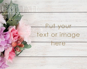 Styled Stock Photography / Flowers / Wood Background / Styled Background / Pink Flowers / Digital Background / Spring / StockStyle-922