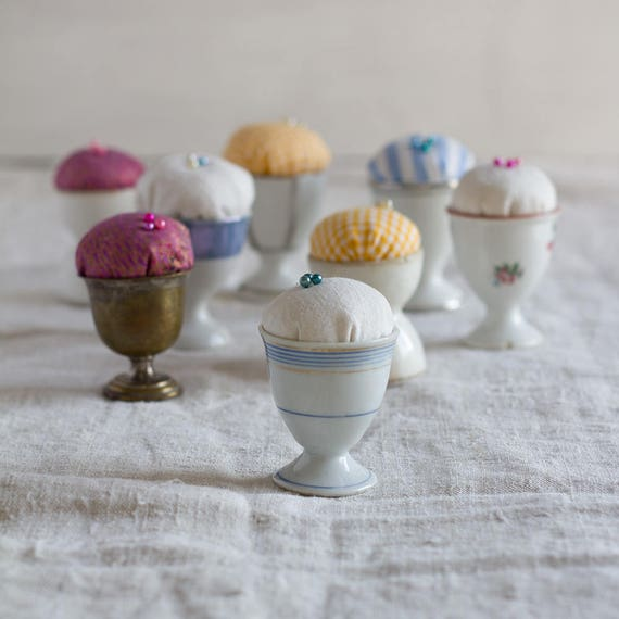 CLEARANCE - Vintage French Egg Cup Pincushions