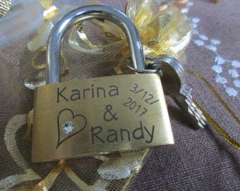 engraved Padlock (Love-lock, Brass) with Swarovski crystal + Key and pouch,personalized,engraving, personalized couple, Wedding application