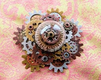 Under Glass Steampunk Brooch/Pin