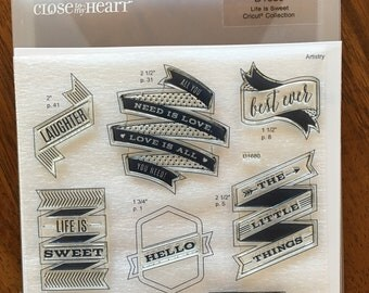 """Close to My Heart My Acrylix Stamp Set Artistry Cricut Collection """"Life is Sweet"""" Banners"""