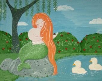 Mermaid and Ducks Gouache Painting