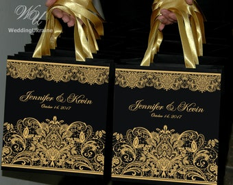25 Chic Wedding welcome Bags for guests with Gold satin ribbon and names - Elegant Personalized Wedding gifts and favors Black & Gold