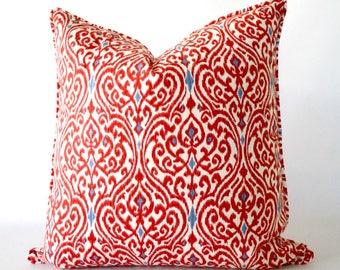 Red 26x26 pillow, red Ikat pillow, Ikat pillow with trim, red pillow, pillow with trim, throw pillows with trim, cushion, decorative pillows