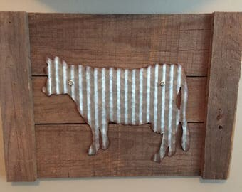 farmhouse, cow, metal, cow sign, corrugated metal sign, metal cow wall art