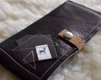 Leather and cork boho wallet