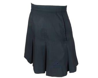 Black Tennis Skirt - Size Small / pleated mini skirt 90s short skirt polyester schoolgirl 90s grunge goth vintage womens clothing athletic