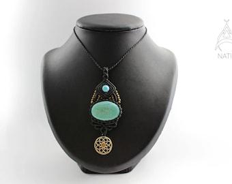 Turquoise macrame pendant