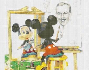 "disney Counted Cross Stitch disney Pattern Mickey pattern point de croix needlework punto de cruz - 12.50"" x 16.79"" - L904"
