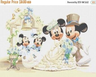 "mickey and minnie married Counted Cross Stitch mickey and minnie Pattern kreuzstichvorlagen korss - 23.64"" x17.71"" - L481"