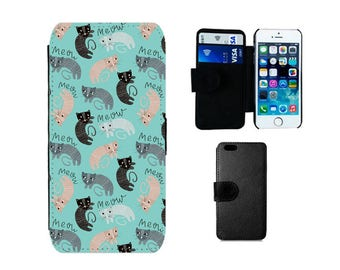 Wallet Flip case Samsung Galaxy S8 Plus S7 S6 Edge S4 S5 Mini, iPhone wallet SE X 8 7 6S 6 Plus 5S 5C 5 4S cats cat phone case gifts. F372