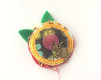 Child yellow flower and purple heart - textile brooch - hair jewelry hair clip