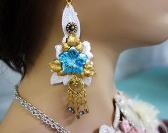lace blue flowers earrings