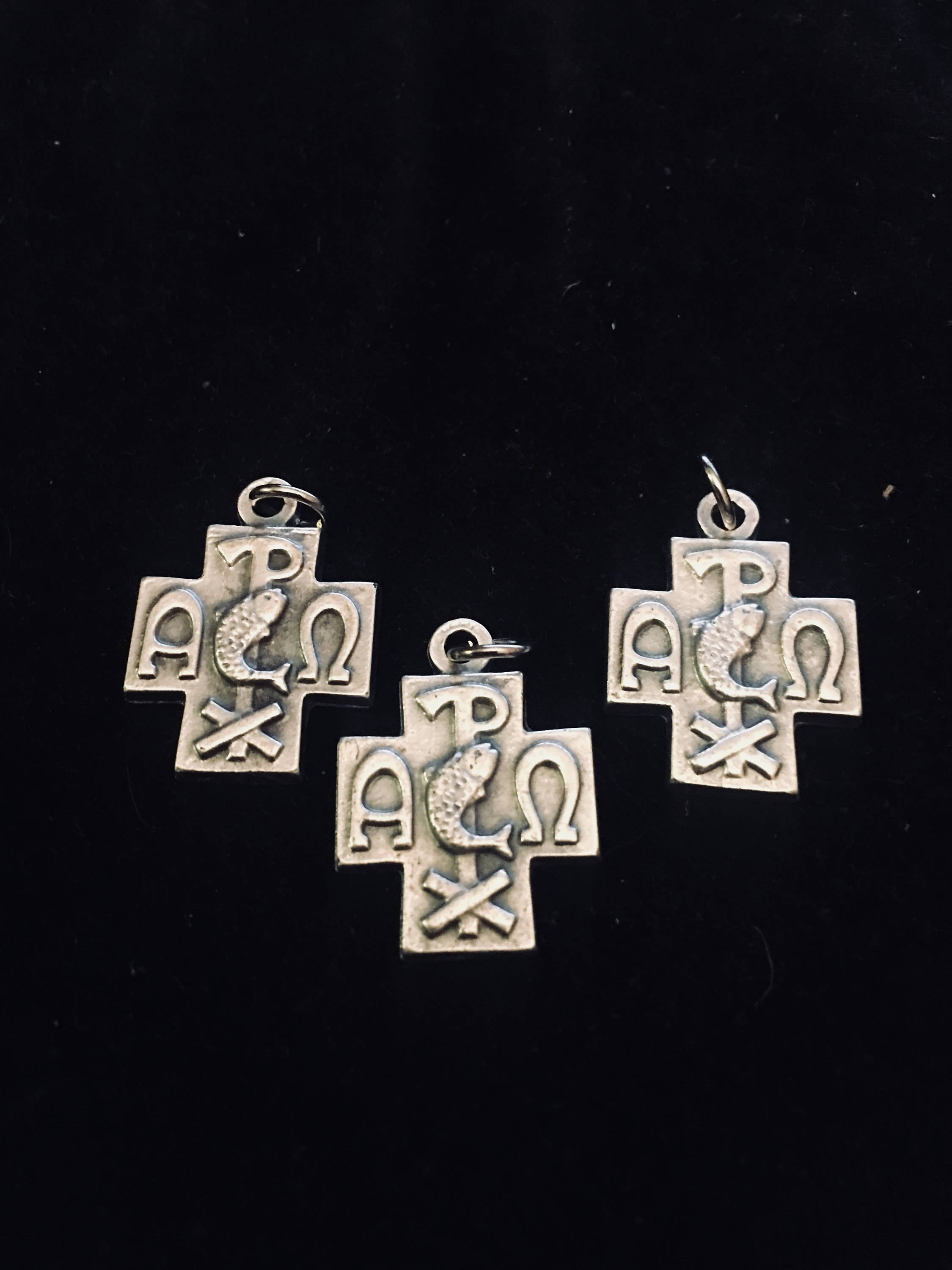 Jesus alpha and omega cross lot of 3 medal italy fish with cross sold by beattitudesgifts buycottarizona