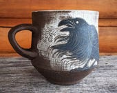 Crow with crescent moon handmade brown stoneware mug
