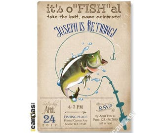 Fishing Retirement Invitation, Adult Men's Surprise Party, Open House Farewell Fisherman Big Mouth Bass Fish Rustic Shabby Chic Vintage Rt01
