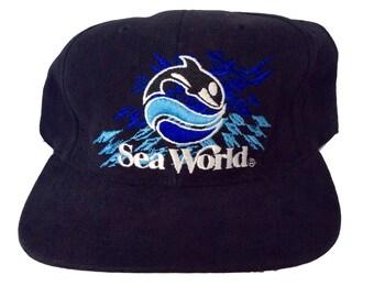 Vintage Sea World Strapback Hat Rare Black 90s