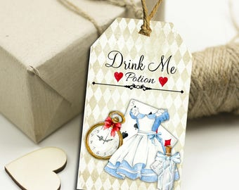10Alice in Wonderland Drink Me Potion  Gift Tags Toppers,Favors,Wedding.Tea Parties,Baby Shower,Bridal Shower,Birthday,Gifts