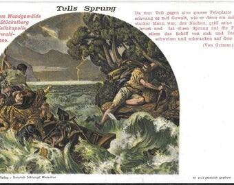 Tells Sprung - William Tell. Antique Unused Postcard, Circa 1918, Switzerland