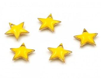 Star 10 enamel charms 12x11mm yellow
