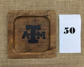 Texas A&M Ring tray out of pecan - last one! Ready to ship