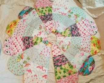 Flamingo Quilted Christmas Tree Skirt Handmade