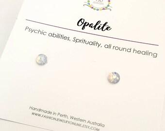 Opalite studs Dainty Earrings Gemstone studs Hypoallergenic earrings post Healing earrings Gifts for friends under 10